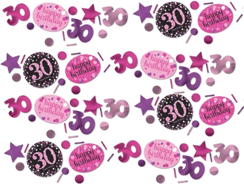 30 års Fødselsdag konfetti: Farve - Pink