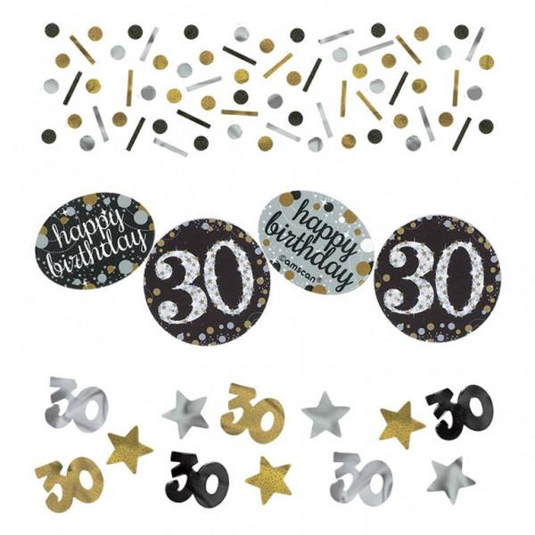30 års Fødselsdag konfetti: Farve - Sølv