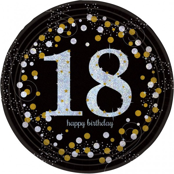 18 års Fødselsdag paptallerkner: Farve - Sølv