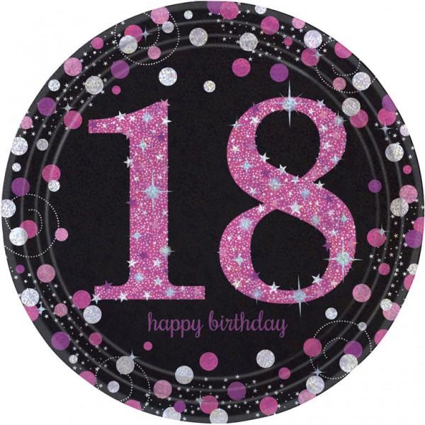 18 års Fødselsdag paptallerkner: Farve - Pink