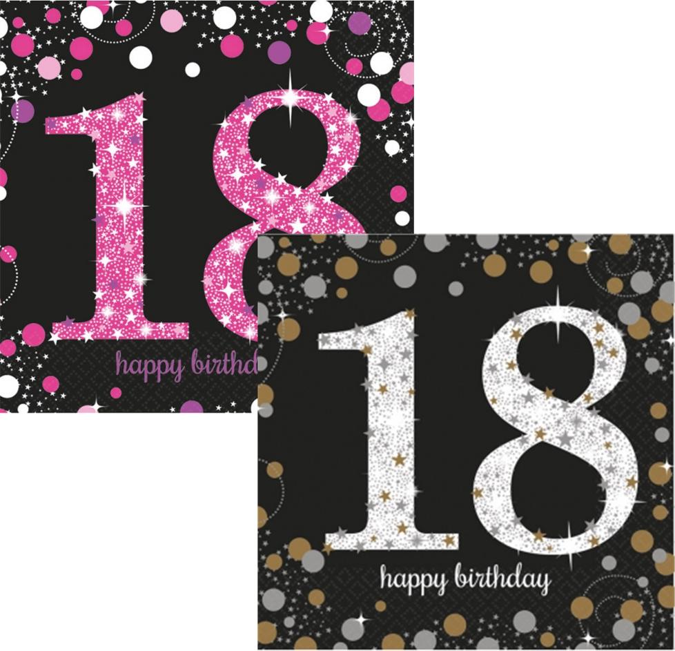 tal 18 år 18 års Fødselsdag servietter   Festbyen tal 18 år