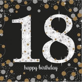 18 års Fødselsdag servietter: Farve - Sølv
