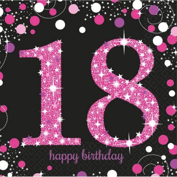 18 års Fødselsdag servietter: Farve - Pink