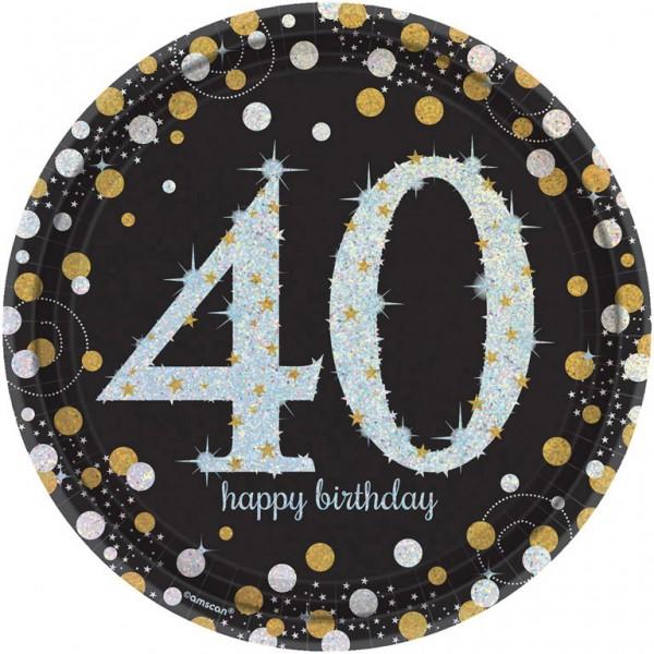 Billede af 40 års Fødselsdag paptallerkner: Farve - Sølv