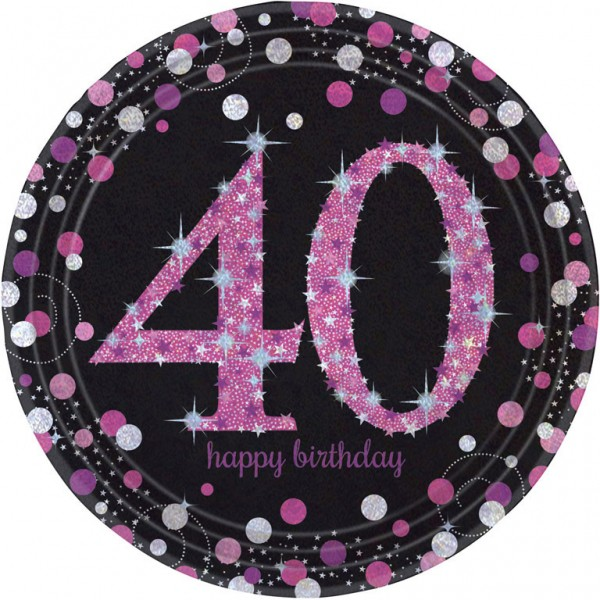 Billede af 40 års Fødselsdag paptallerkner: Farve - Pink