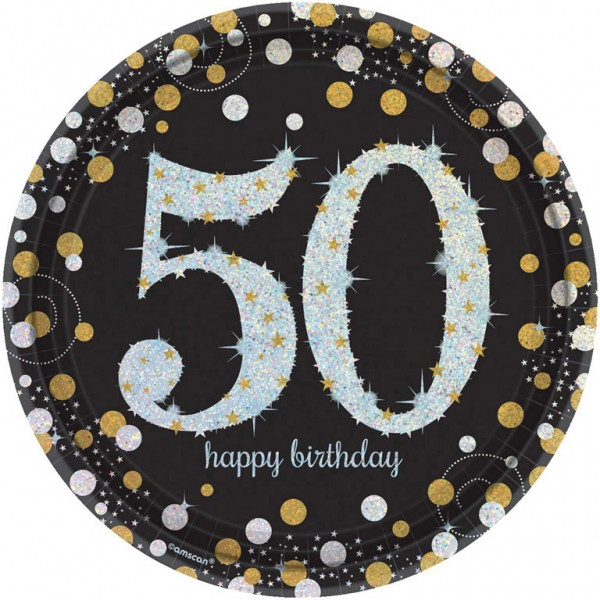 50 års Fødselsdag paptallerkner: Farve - Sølv