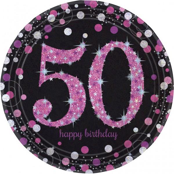 Billede af 50 års Fødselsdag paptallerkner: Farve - Pink