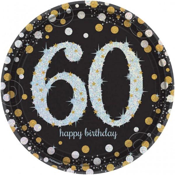 Billede af 60 års Fødselsdag paptallerkner: Farve - Sølv