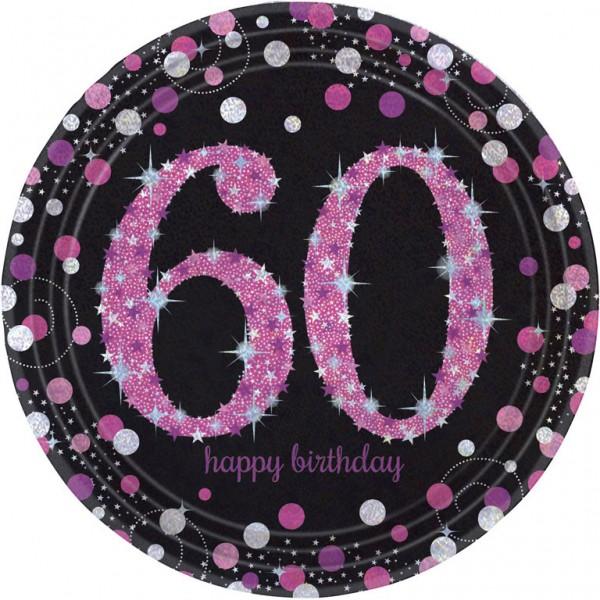 Billede af 60 års Fødselsdag paptallerkner: Farve - Pink