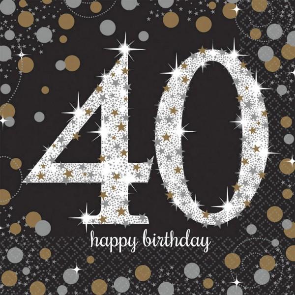 40 års Fødselsdag servietter: Farve - Sølv