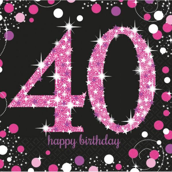 Billede af 40 års Fødselsdag servietter: Farve - Pink