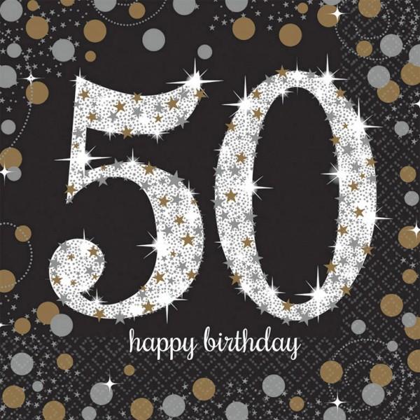 50 års Fødselsdag servietter: Farve - Sølv