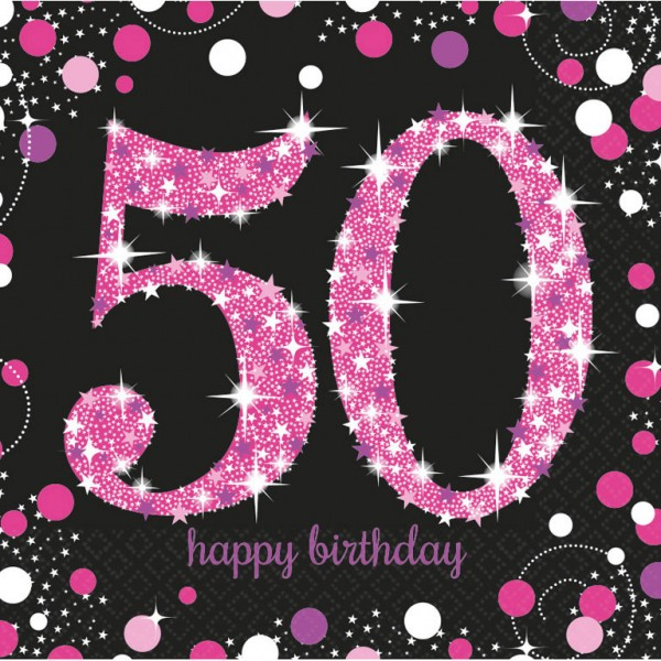 Billede af 50 års Fødselsdag servietter: Farve - Pink