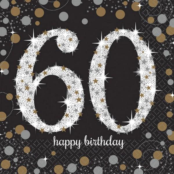 60 års Fødselsdag servietter: Farve - Sølv