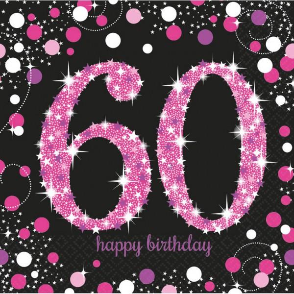 60 års Fødselsdag servietter: Farve - Pink