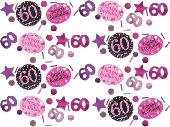 Billede af 60 års Fødselsdag konfetti: Farve - Pink