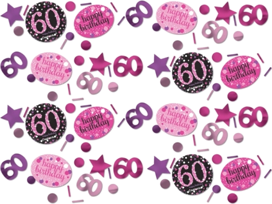 60 års Fødselsdag konfetti: Farve - Pink
