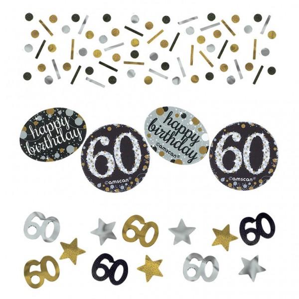 60 års Fødselsdag konfetti: Farve - Sølv