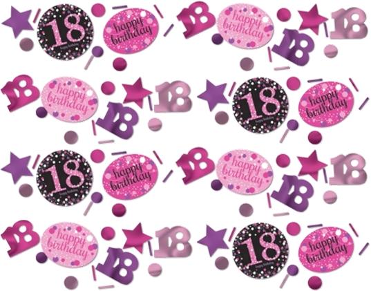 18 års Fødselsdag konfetti: Farve - Pink