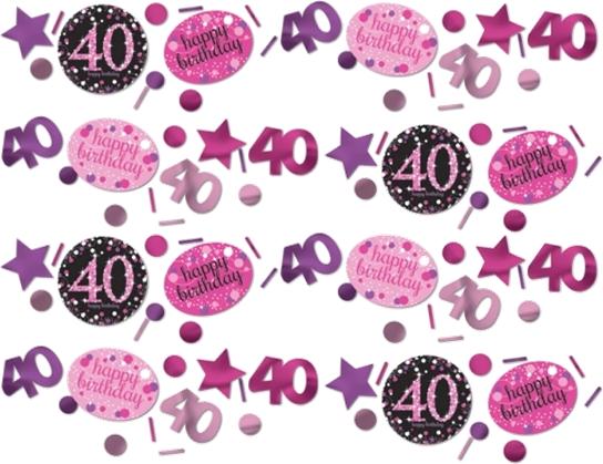 40 års Fødselsdag konfetti: Farve - Pink