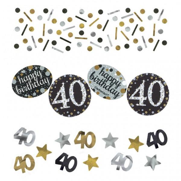 40 års Fødselsdag konfetti: Farve - Sølv