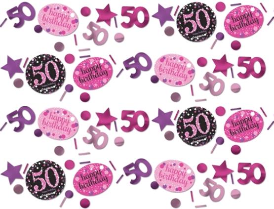 50 års Fødselsdag konfetti: Farve - Pink