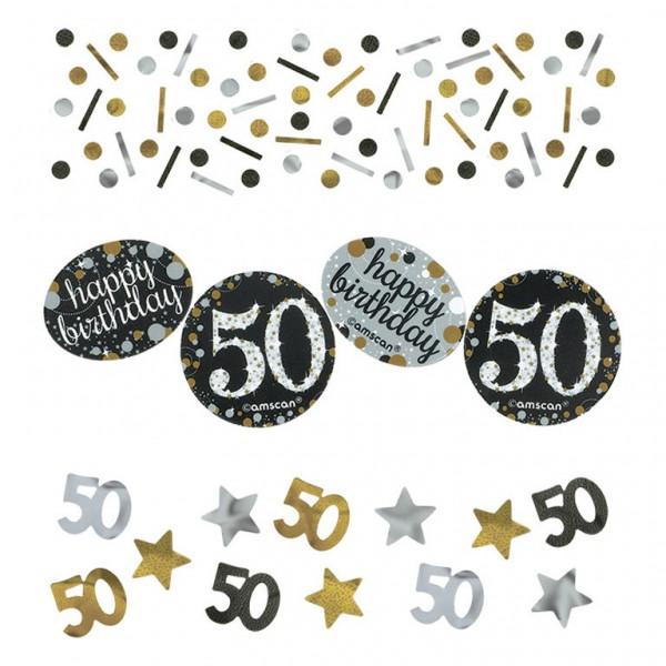 50 års Fødselsdag konfetti: Farve - Sølv