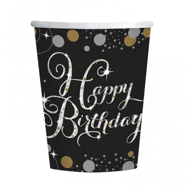 Fødselsdags engangskrus: Farve - Sølv