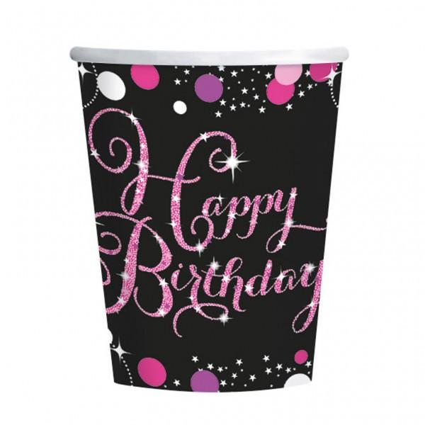 Fødselsdags engangskrus: Farve - Pink