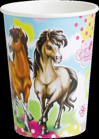 Billede af Heste engangskrus - Hvid og brun 8 Stk.
