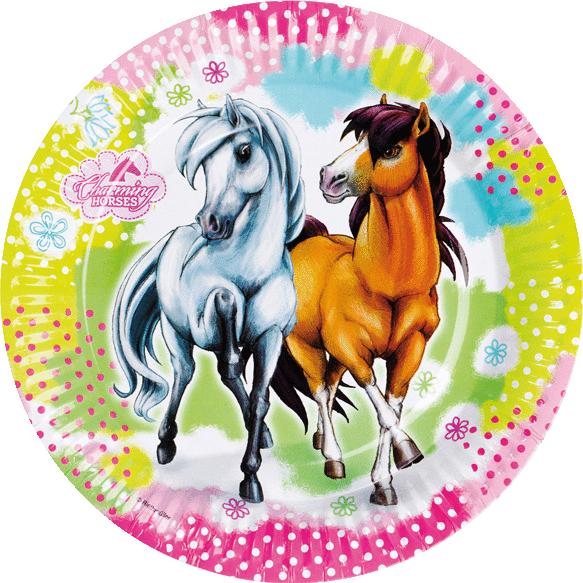 Billede af Heste pap tallerkner - Hvid og brun hest 8 Stk.