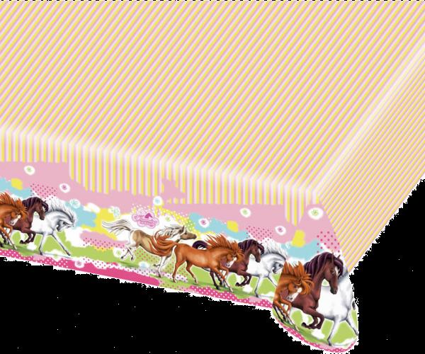 Billede af Heste plastik dug - Hvid og brun hest