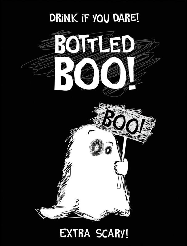 Billede af Halloween flaske etiket: Etiket - Bottled Boo!!