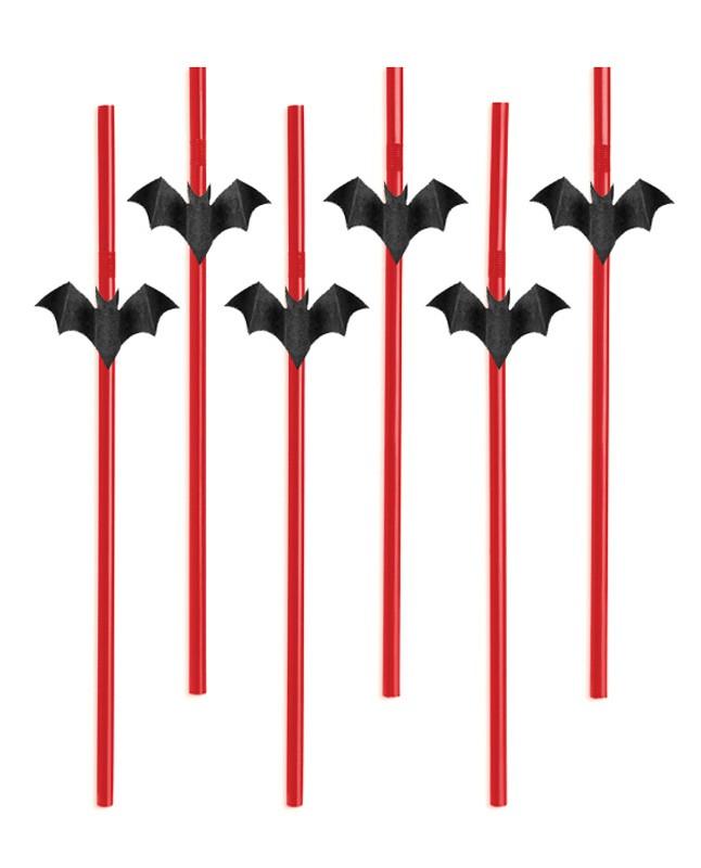 Billede af Halloween sugerør - Flagermus 6 Stk.