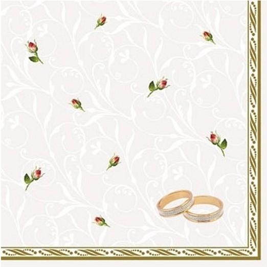 Billede af Bryllups servietter - ringe og roser 20 Stk.