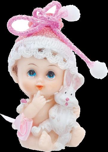 Billede af Baby pige med kanin