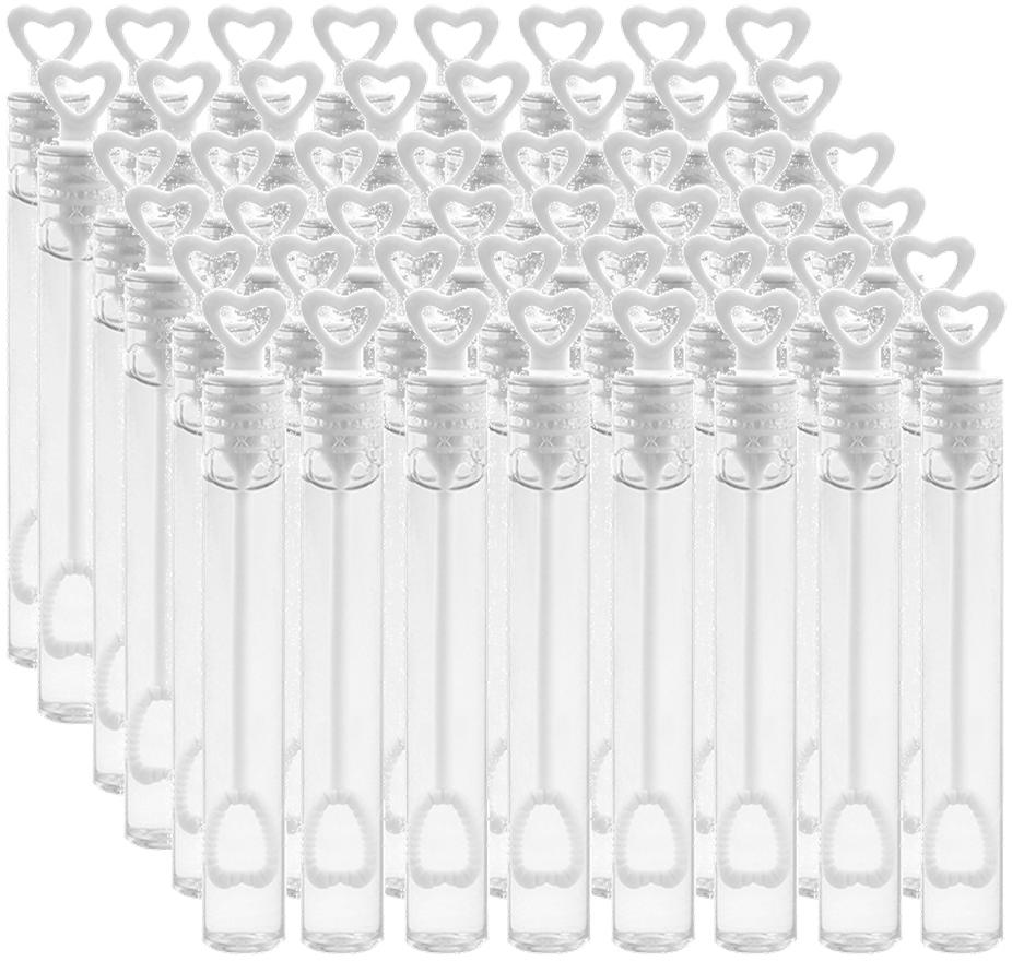 Bryllup sæbebobler - hjerter hvid 48 Stk.