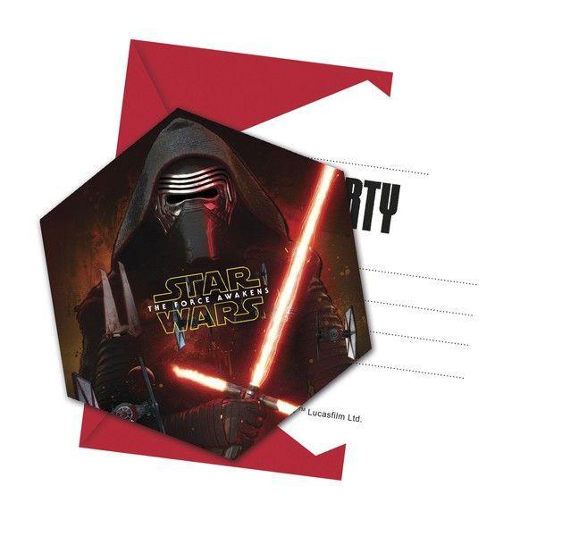 Billede af 6 Stk. Star Wars Kylo Ren invitationer