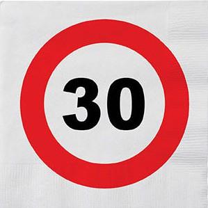 30 års fødselsdags servietter - Vejskilt