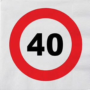 40 års fødselsdags servietter - Vejskilt