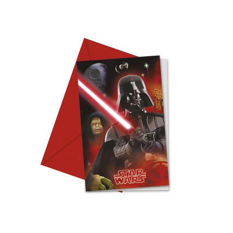 Billede af 6 Stk. Star Wars Darth Vader invitationer