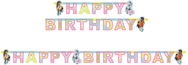 Fødselsdagsbanner med Heste