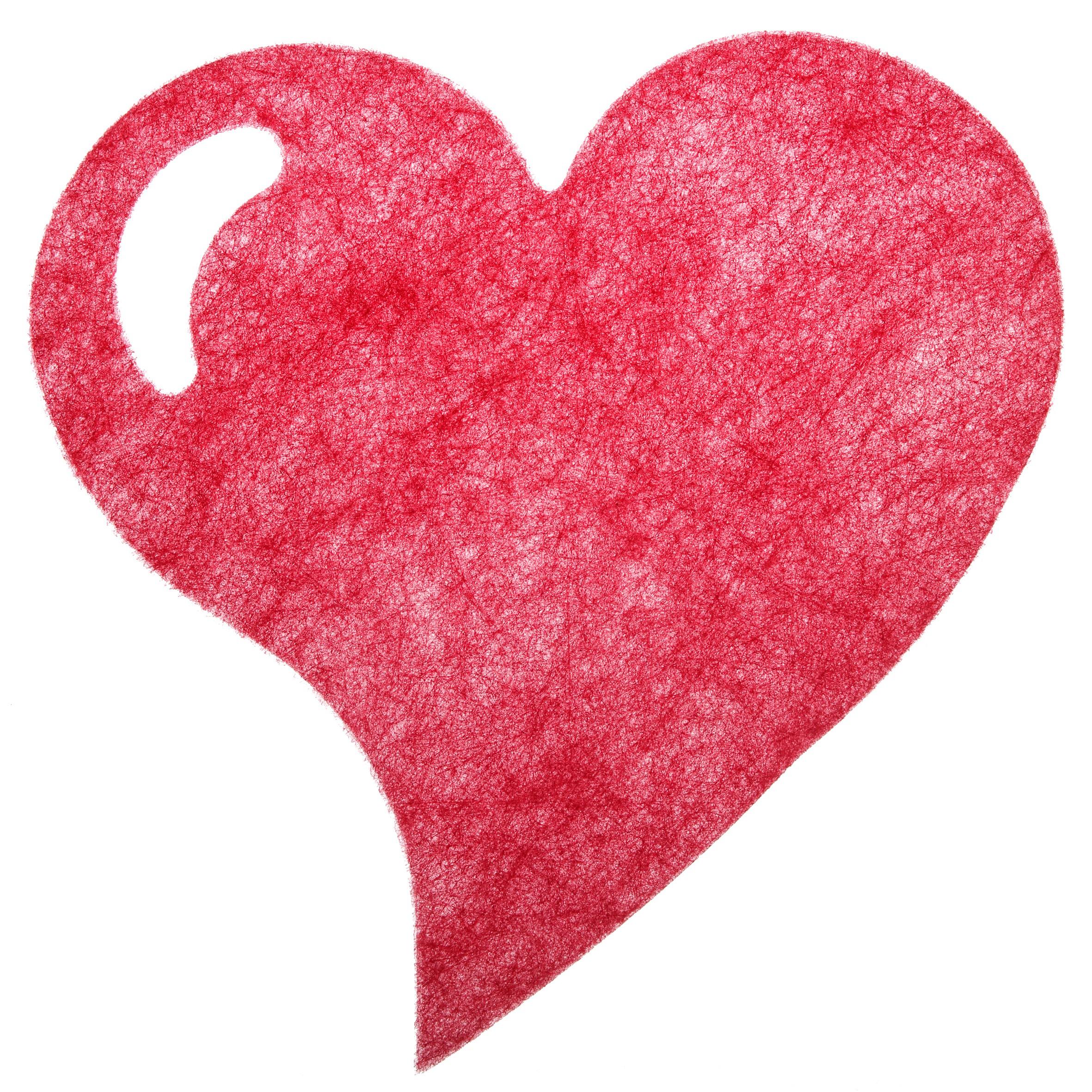 Hjerteformet dækkeserviet - Rød