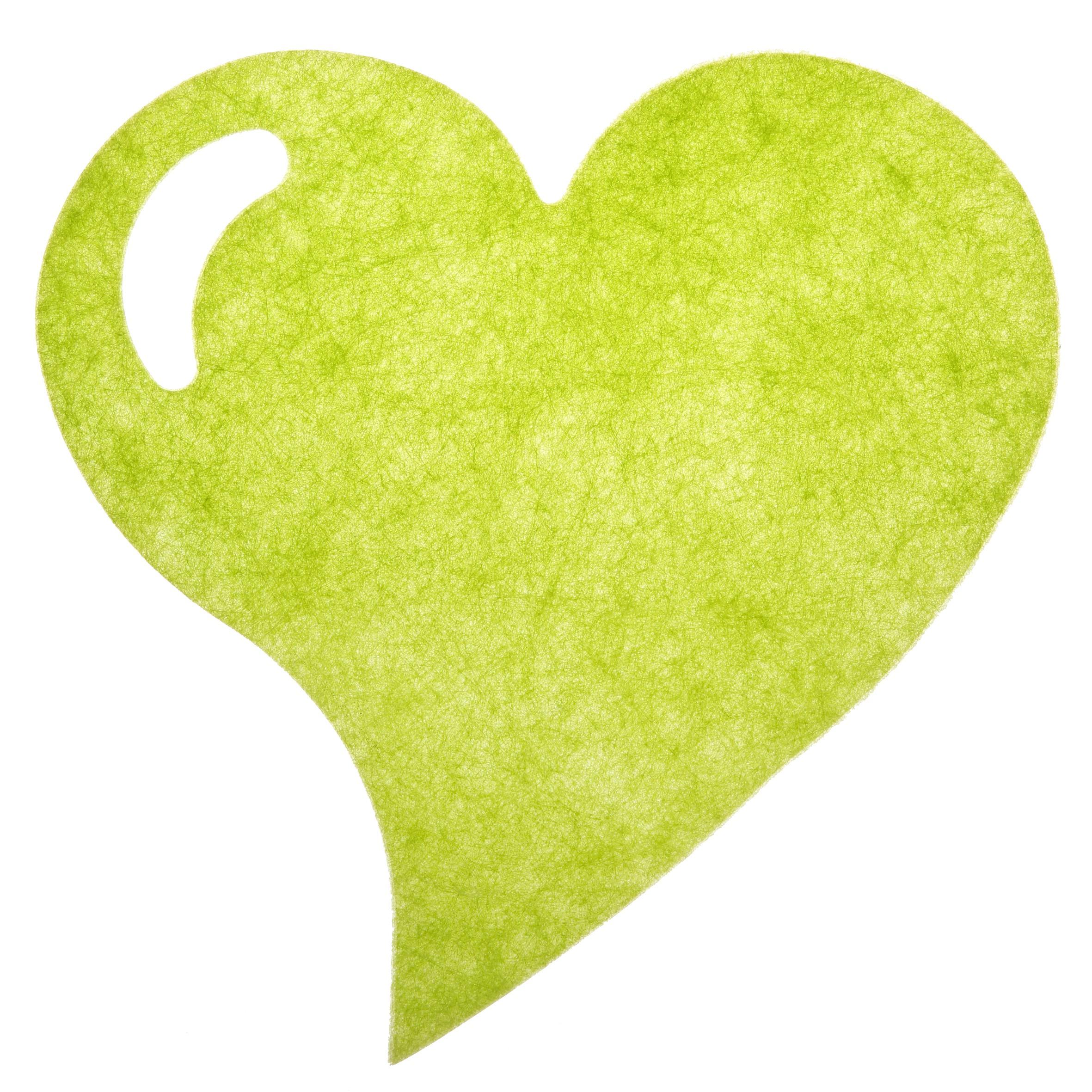 Hjerteformet dækkeserviet - Lime