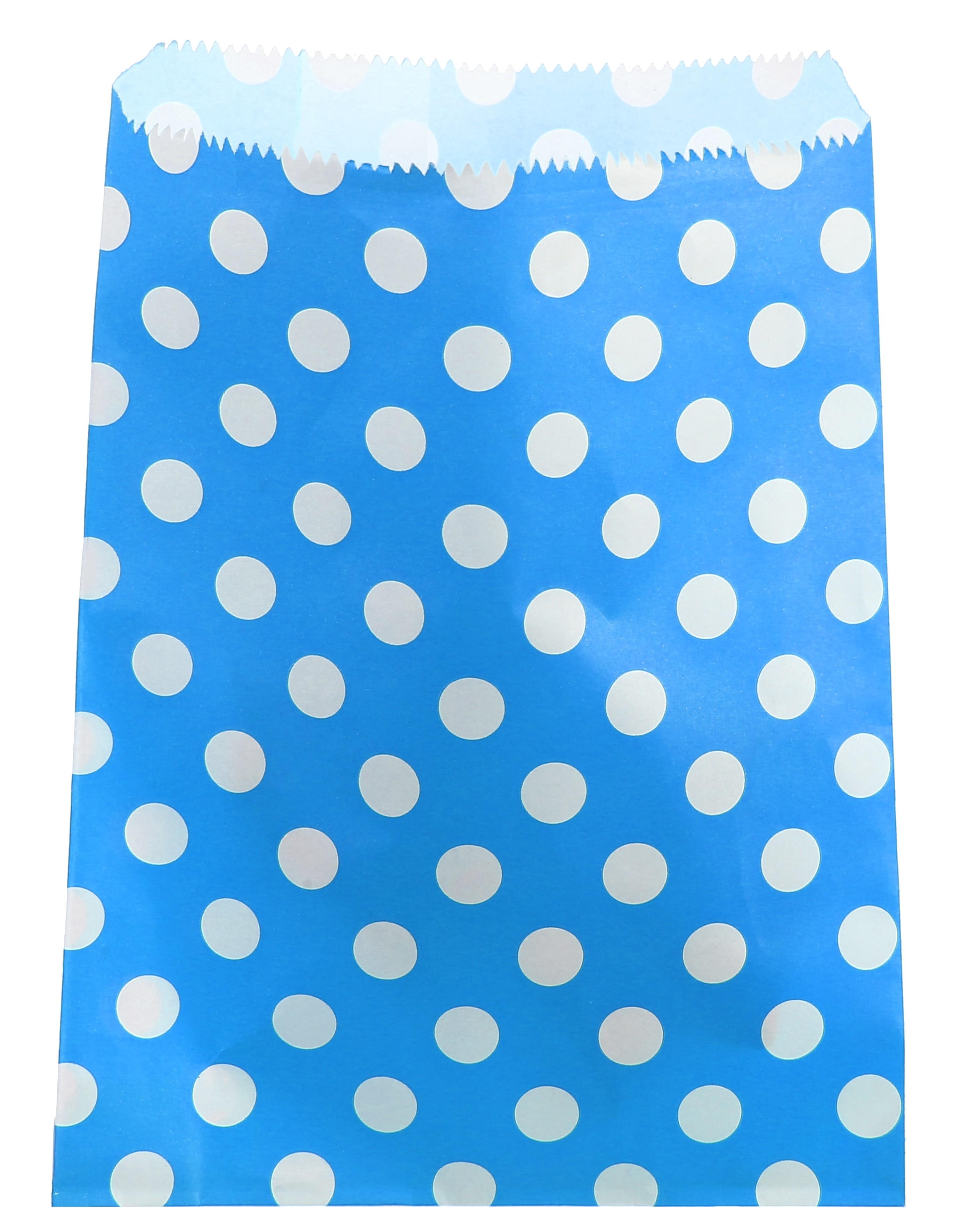 Billede af Blå papir slikpose med prikker - 24 Stk