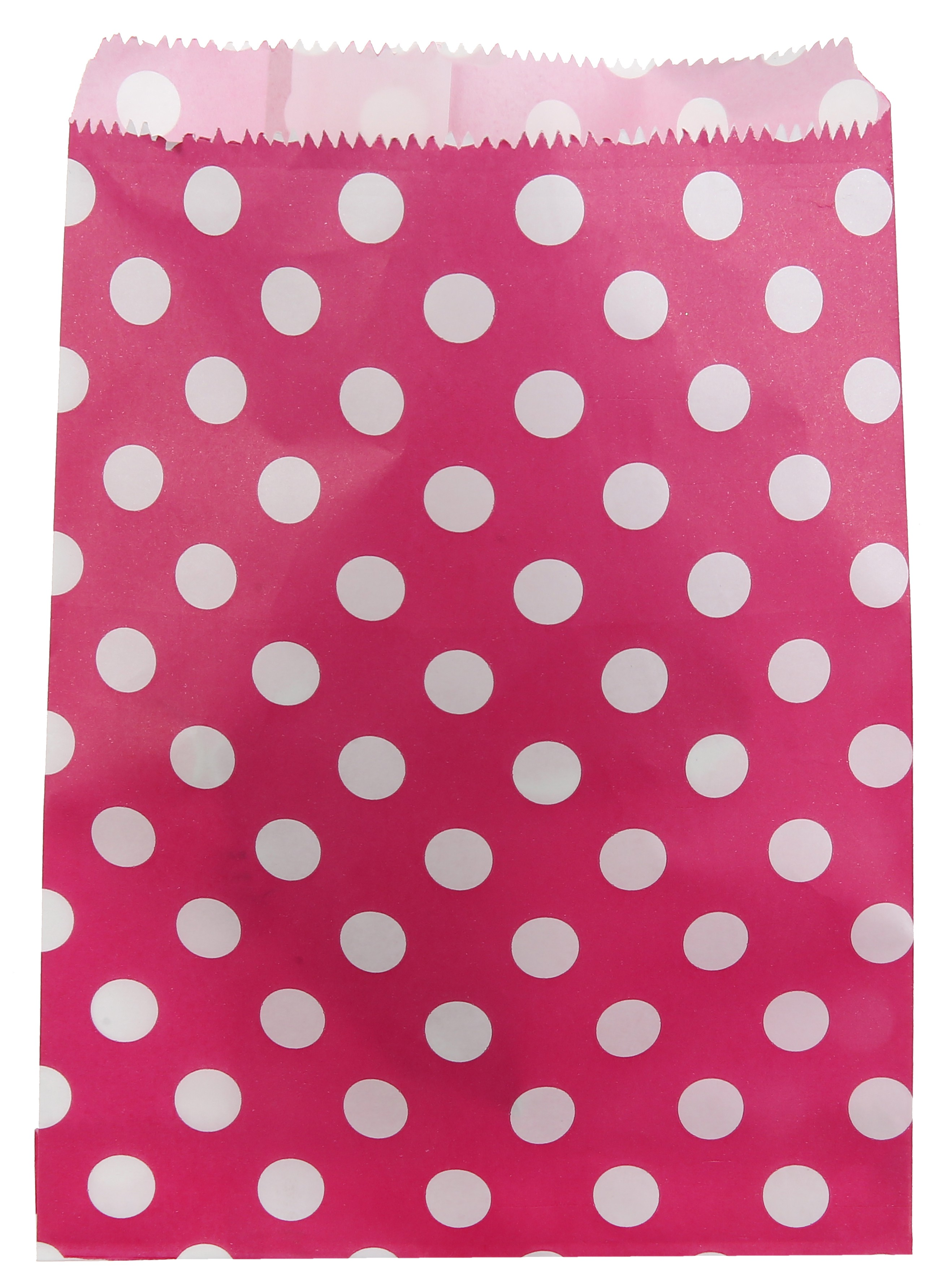 Billede af Pink papir slikpose med prikker - 24 Stk