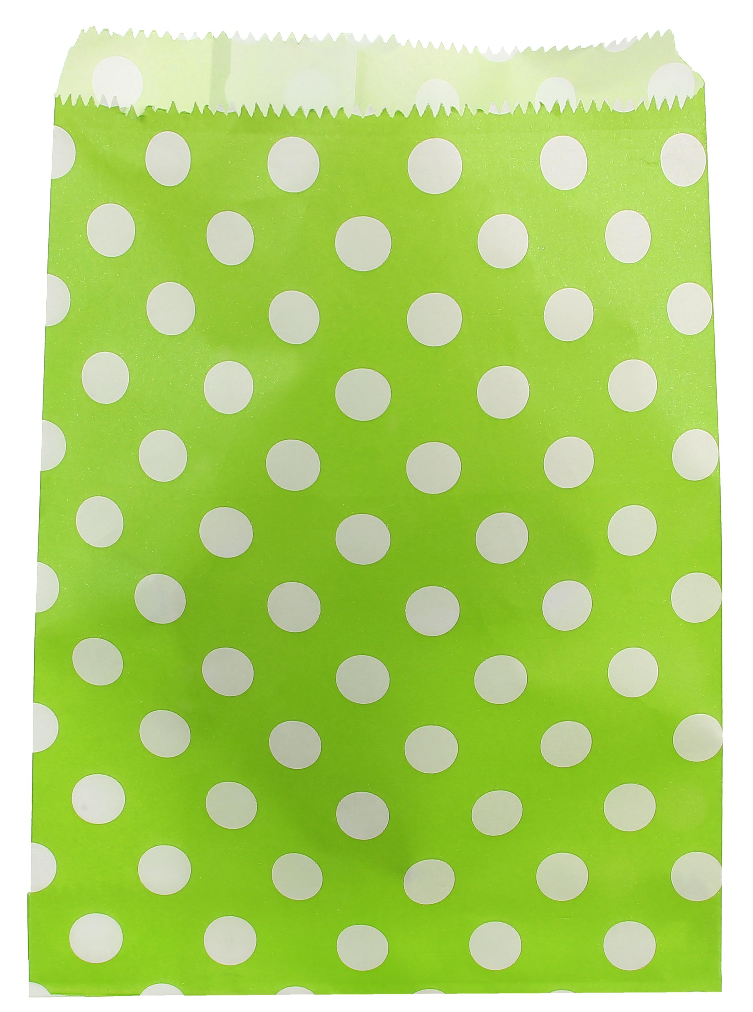 Billede af Lime papir slikpose med prikker - 24 Stk