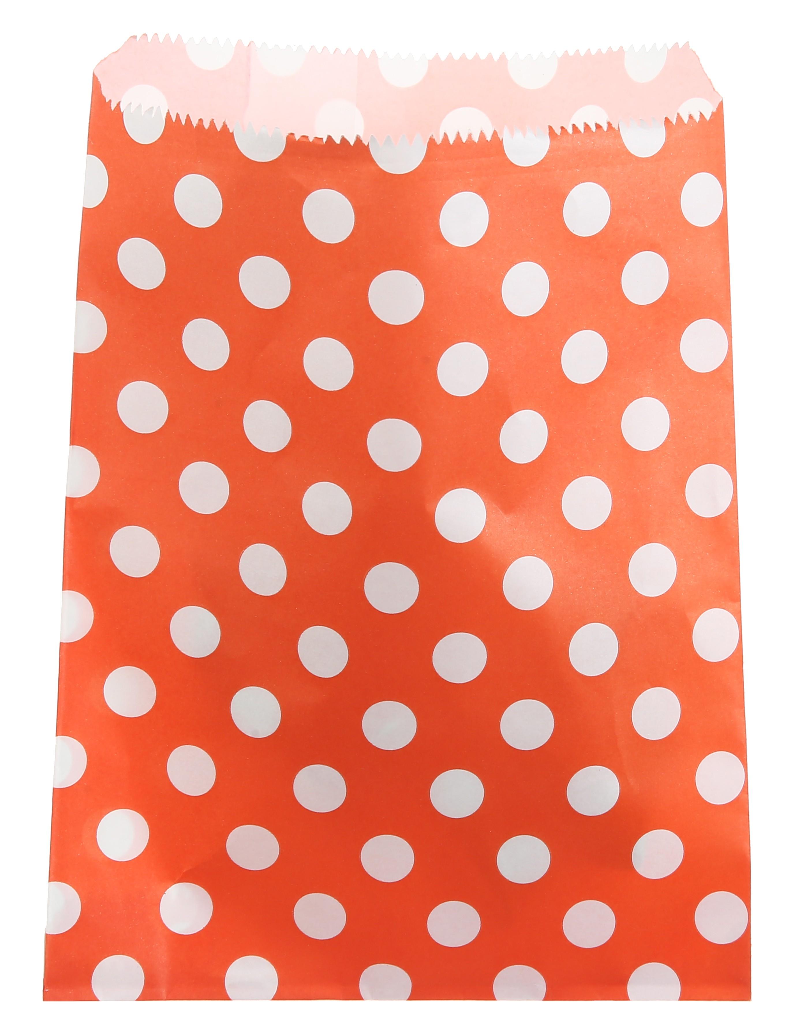 Billede af Orange papir slikpose med prikker - 24 Stk