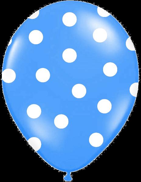 Billede af Blå ballon med hvide prikker