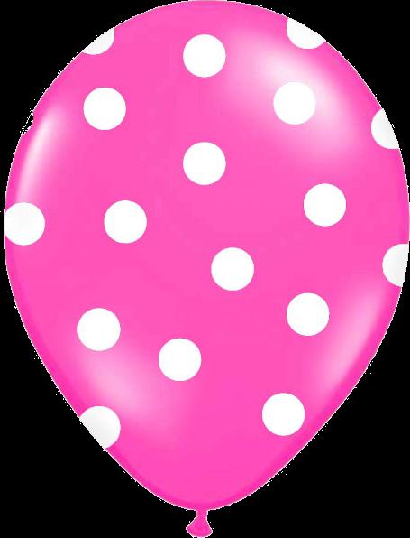 Billede af Pink ballon med hvide prikker
